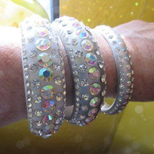 Set of 3 Silver Lucite and Rhinestone Bangles